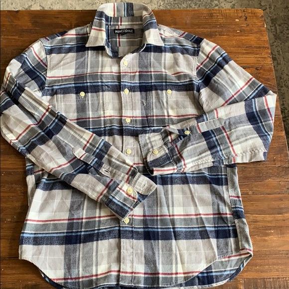 J Crew crew neck flannel button down shirt